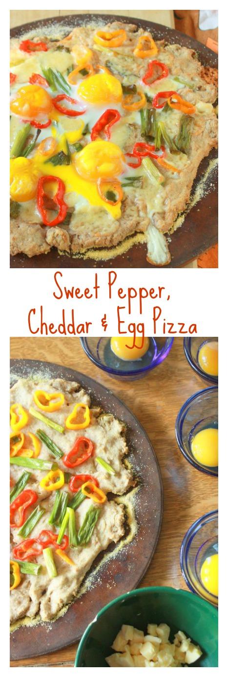 Quick & easy dinner - sorta silly. But YUMMY: Sweet Mini-Pepper, Cheddar & Egg Pizza | TeaspoonOfSpice.com