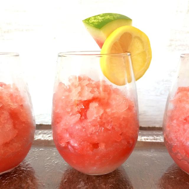 Easy to make summer time dessert: Watermelon Lemonade Slushies @tspbasil Teaspoonofspice.com