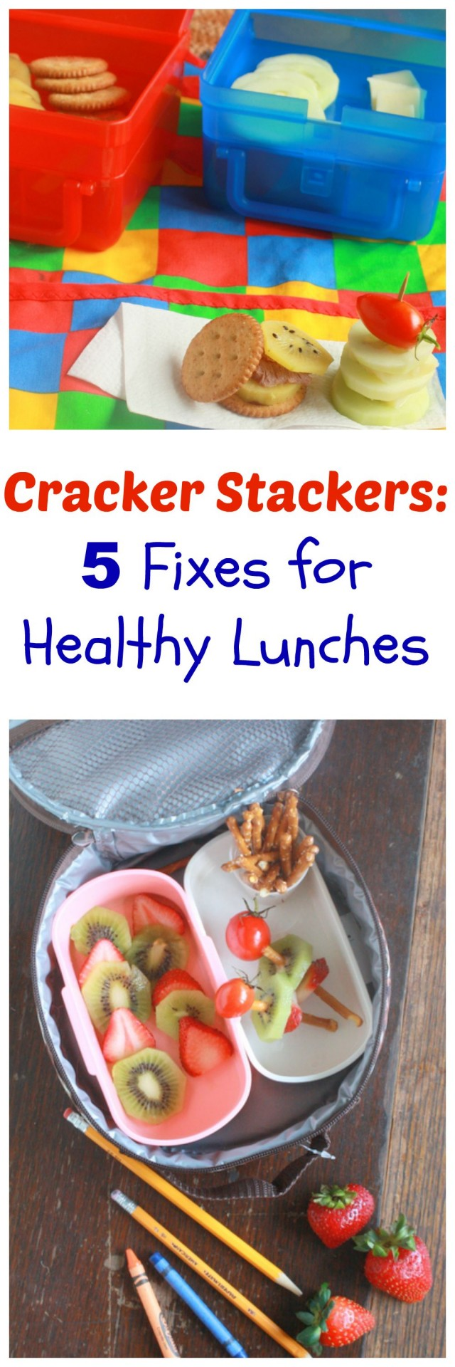5 Fixes for Healthy Lunches : Cracker Stackers | TeaspoonOfSpice.com #kids