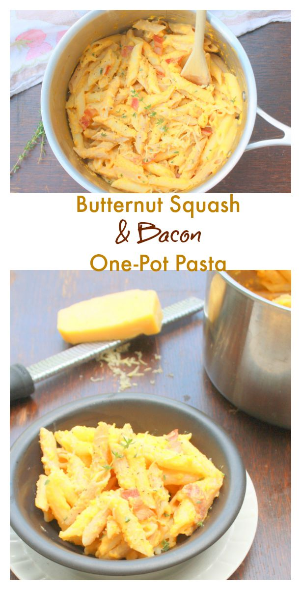 Velvety and rich. But #healthy - Butternut Squash Bacon One Pot Pasta @tspcurry