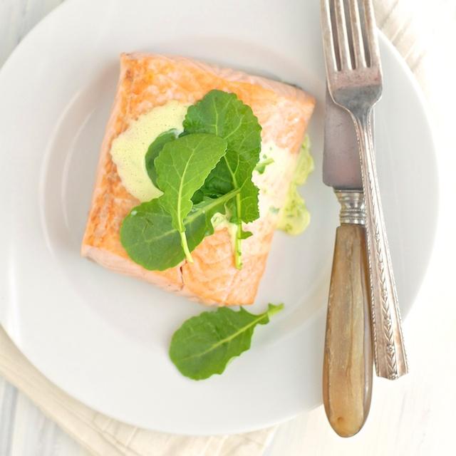 Salmon with Herbed Lemon Hollandaise | Teaspoonofspice.com