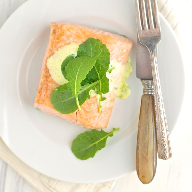Salmon with Herbed Lemon Hollandaise | Teaspoonofspice.com