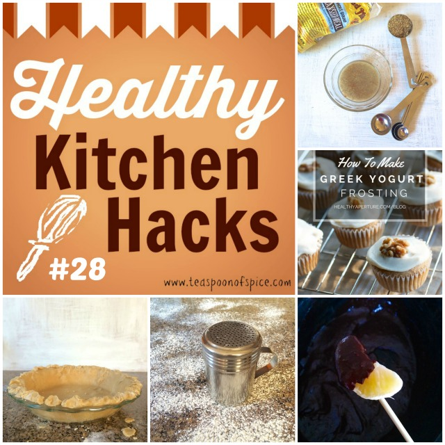 Top 5 Healthy Kitchen Hacks- Baking Edition: *How to Bake Without Eggs * How to Make a Healthier Frosting * How to Make a Flaky Whole Grain Pie Crust * Quick Way to Flour a Surface * Dark Chocolate Fondue in the Slow Cooker*