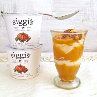 A unique Thanksgiving appetizer: Savory yogurt parfaits layered with cheesy pumpkin and siggi's Pumpkin & Spice skyr. @tspbasil
