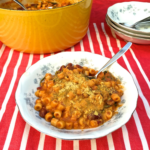 Hearty Italian comfort food with an extra nutrition kick: Pasta and Bean Soup with Greens (sprinkled with Nutritional Yeast) @tspbasil