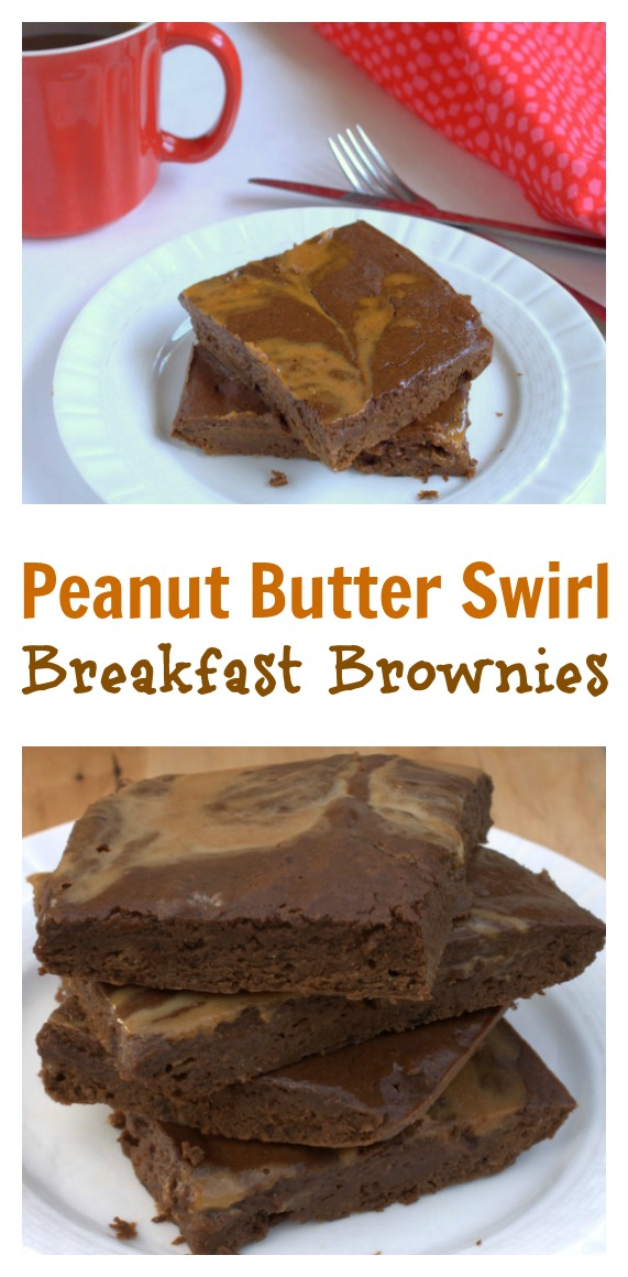 Low sugar. Packed with protein. Some fiber too: Peanut Butter Swirl Breakfast Brownies | @tspcurry