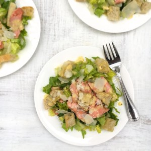 Salmon Caesar Salad (with Anchovy-Free Caesar Dressing)