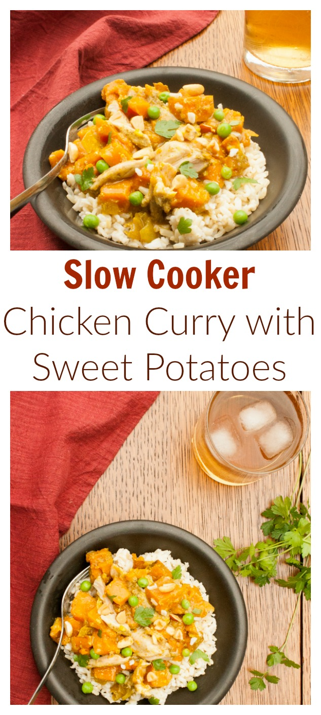 Just 6 ingredients: SLOW COOKER CHICKEN CURRY WITH SWEET POTATOES AND PEAS | @tspcurry