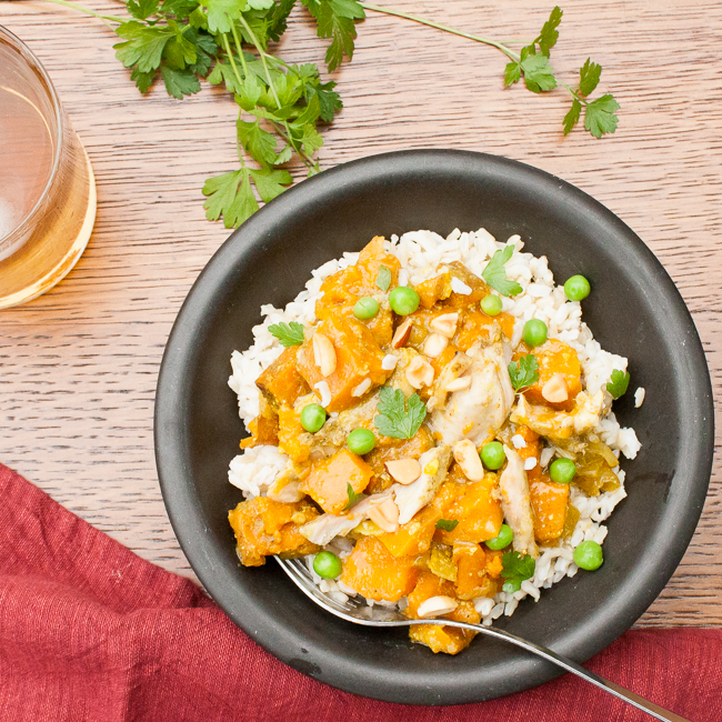 Slow Cooker Chicken Curry with Sweet Potatoes and Peas | @tspcurry