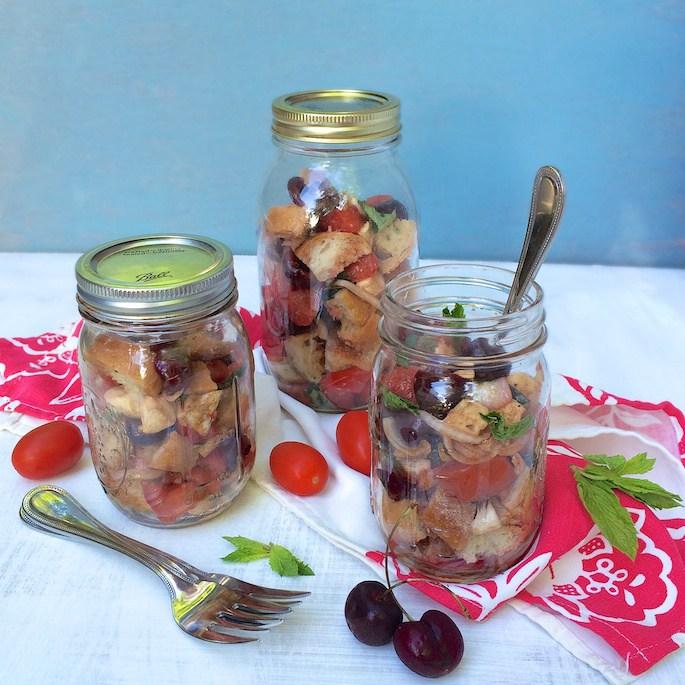 Portable Cherry Caprese Panzanella Salad @tspbasil