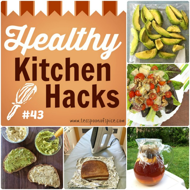 Healthy Kitchen Hacks #43: How to Freeze Avocados, What to Do with Leftover Potato Salad, How to Naturally Sweeten Iced Tea, How To Make Grilled Cheese with an Iron, High Protein Vegetarian Sandwich Spread