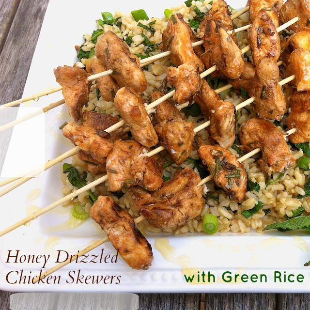 Honey Drizzled Chicken Skewers with Green Rice