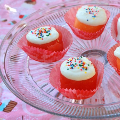 "Spread GoGo squeeZ yogurtZ on top of cantaloupe and watermelon cut outs to make ""frosted cupcakes"" [sponsored]"