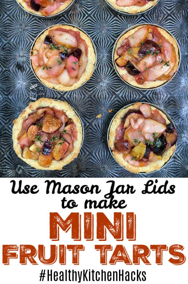 Try this easy #HealthyKitchenHacks to make mini fruit tarts at home! Recipe at Teaspoonofspice.com #fruittarts #masonjars #minidesserts #desserts #fruit #fruitdesserts