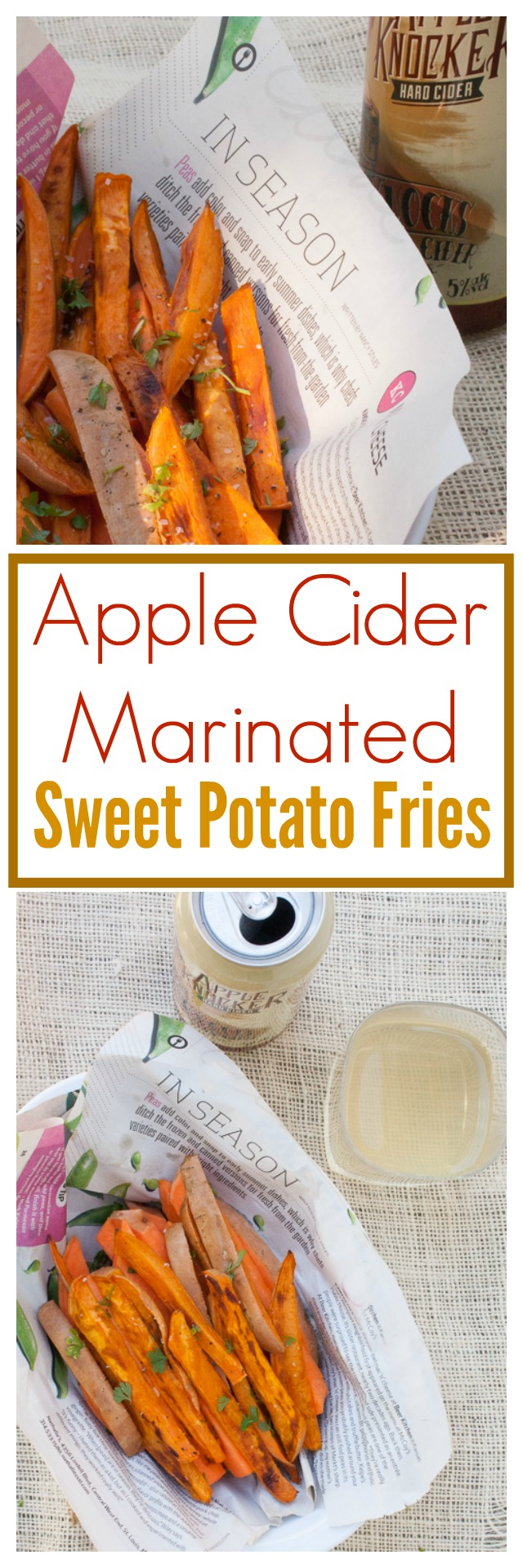 Apple cider makes these fries extra crispy. Baked sweet potato fries, so they're healthy too! #AD Apple Cider Marinated Sweet Potato Fries | @TspCurry