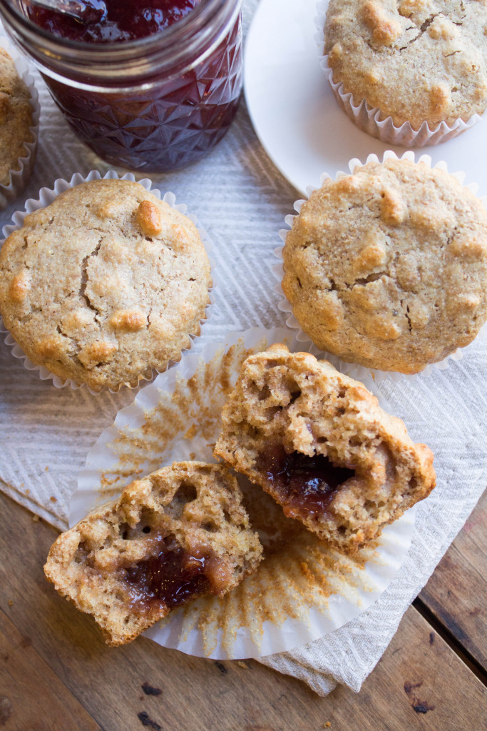 Whole Wheat Peanut Butter and Jelly Muffins for a Peanut Butter Lovers' Recipe Round Up