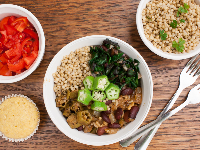Power your meal with veggies and comfort food like Red Beans & Rice and Garlicy Greens: SOUL FOOD POWER BOWL - VEGETARIAN   @TspCurry For more protein-powered recipes go to TeaspoonOfSpice.com