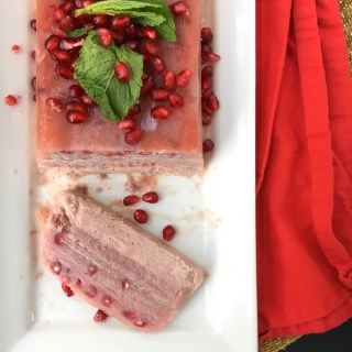 Pomegranate Semifreddo - An Italian dessert featuring pomegranate for a festive winter color and flavor! Recipe on TeaspoonofSpice.com