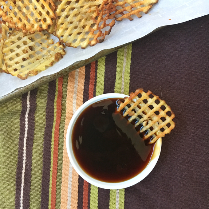 apanese flavors meet thick cut baked potato fries with this lower sodium teriyaki sauce. Recipe at Teaspoonofspice.com