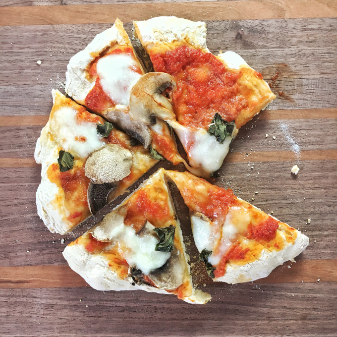 The easiest homemade pizza dough ever - only 3 ingredients and no rising time needed! Recipe and more Healthy Kitchen Hacks at Teaspoonofspice.com