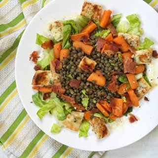 This lentil bacon salad is rich in protein, fiber, iron, folate and flavor. Recipe at teaspoonofspice.com