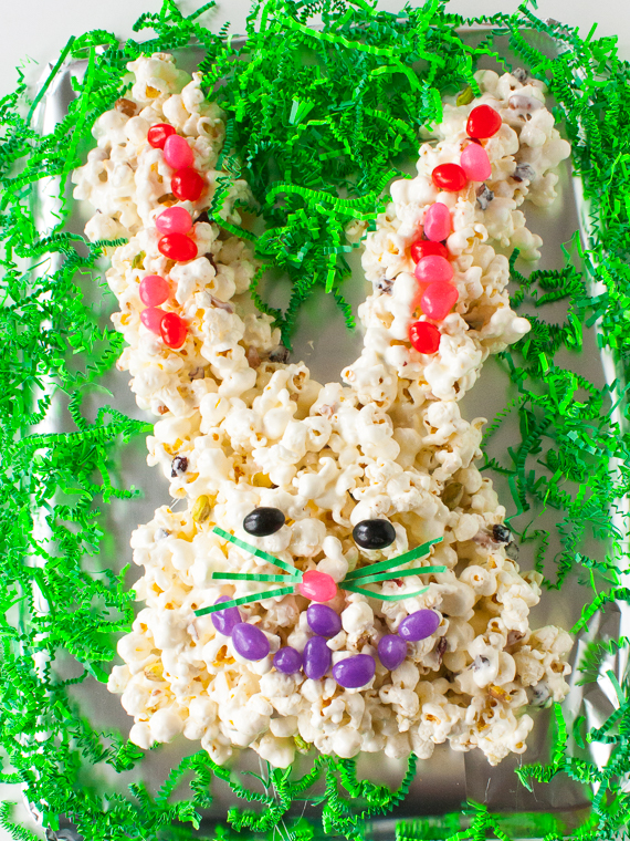 Pistachios + cranberries sweeten this treat. Pile on jelly beans or artificial color-free dried fruit: EASTER BUNNY POPCORN CAKE | @TspCurry = TeaspoonOfSpice.com