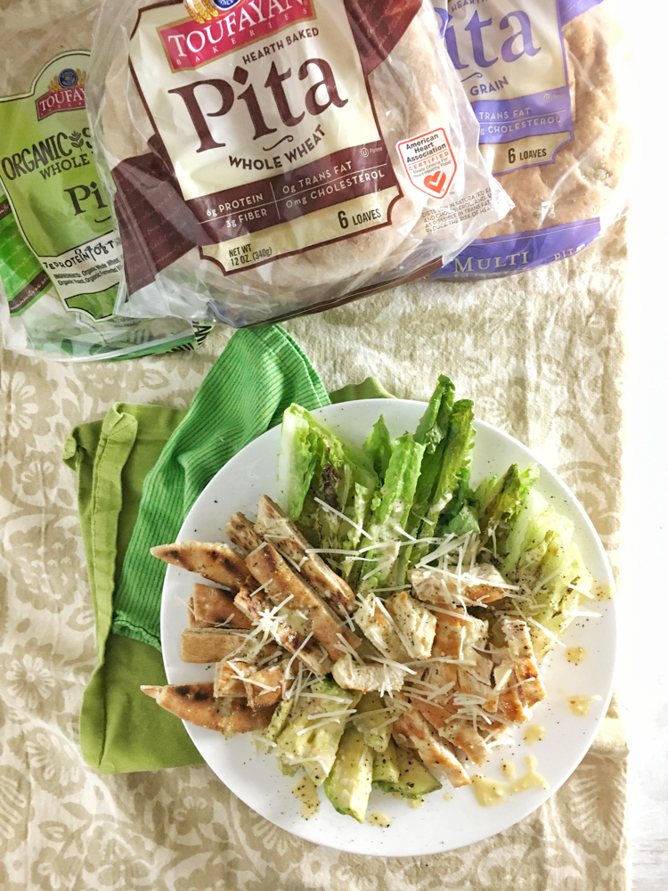 Swap your croutons for grilled pita bread strips with this better-for-you Chicken Caesar Salad. Recipe at Teaspoonofspice.com