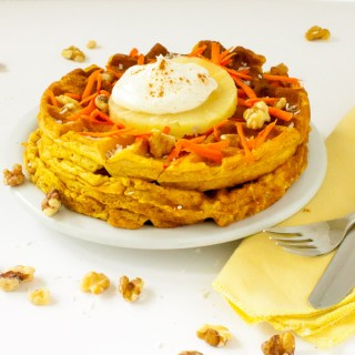 Easy Carrot Cake Waffles with Whipped Cream Cheese Topping