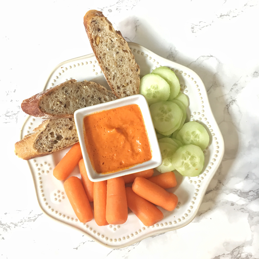 Made in minutes, this delicious and versatile Romesco sauce is going to be your new staple recipe! Recipe at Teaspoonofspice.com