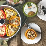 Stuffed peppers made super easy using Panera at Home Turkey Sausage,Kale and Quinoa Soup and Whole Grain 100% Whole Wheat Sliced Bread. #sponsored Recipe at Teaspoonofspice.com