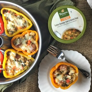 Stuffed peppers made super easy using Panera at Home Turkey Sausage, Kale and Quinoa Soup and Whole Grain 100% Whole Wheat Sliced Bread. #sponsored Recipe at Teaspoonofspice.com