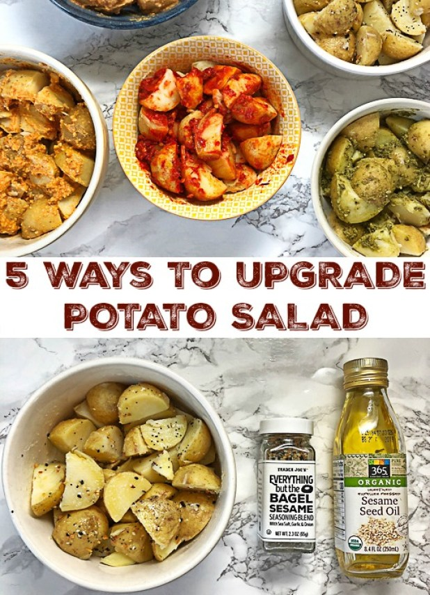 Jazz up your basic potato salad with these simple yet super flavorful ingredient additions. Visit Teaspoonofspice.com for the Healthy Kitchen Hack ideas!
