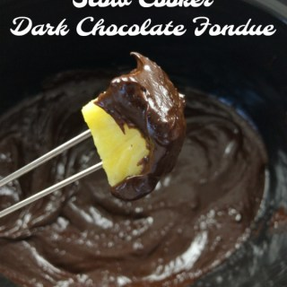 A super simple dessert for a crowd - especially during the holidays - chocolate fondue in your slow cooker! Check out this #healthykitchenhack at Teaspoonofspice.com #fondue #chocolate #darkchocolate #easydessert #dessertrecipe #holidaydessert