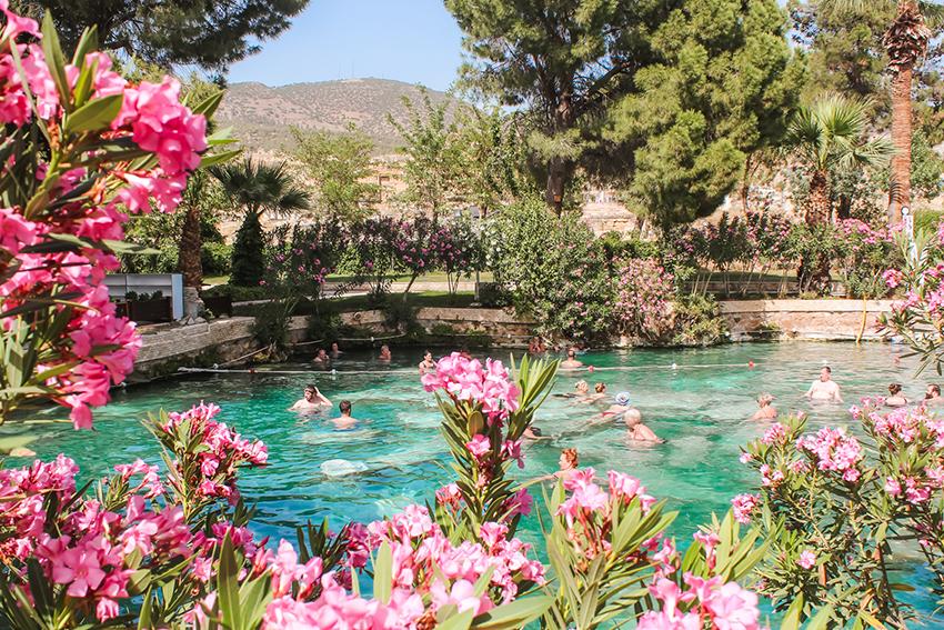 Cleopatra pool, Cleopatra svømmingpool, Pool Pamukkale, Cleopatras pool Pamukkale, Guide til Pamukkale, helende vand,