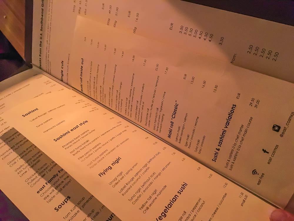 Restaurant anmeldese Tyskland, Restaurant anmeldse Hamburg, Restaurant anmeldse Hamborg, EAST restaurant, oplevelser i Hamburg, Menukort Hamburg