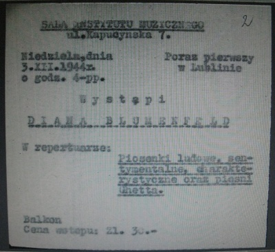 Bilet na koncert Diany Blumenfeld z 3 grudnia 1944 roku