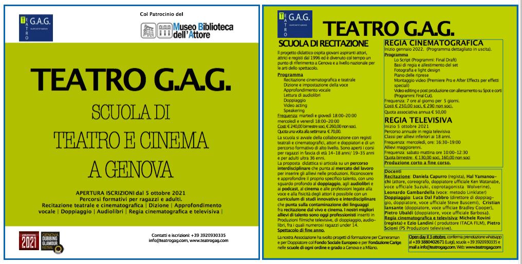 Locandina Scuola di Teatro e Cinema Teatro G.A.G.