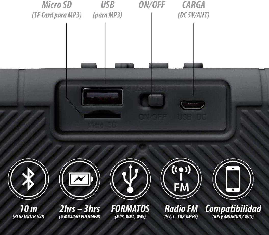 Seedary Bocina Altavoz Bluetooth Inalámbrico Portátil, Bocina Sonido Estéreo Tws Radio Fm, Llamadas Manos Libres, Altavoz Speaker