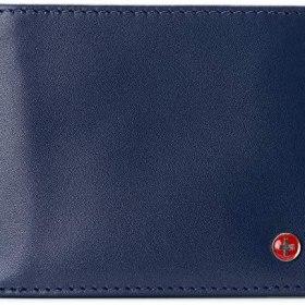 Alpine Swiss Connor RFID Billetera Billetera de piel lisa para hombre, viene en una caja de regalo, Azul, Talla única