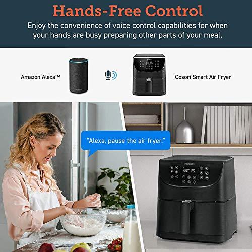 COSORI Smart WiFi 5.8QT Air Fryer (100 recetas), base programable de 1700 vatios para freír al aire, asar y mantener caliente 11 ajustes preestablecidos de cocción, recordatorio de precalentamiento y batido, pantalla táctil digital, funciona con Alexa, negro 4