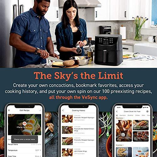 COSORI Smart WiFi 5.8QT Air Fryer (100 recetas), base programable de 1700 vatios para freír al aire, asar y mantener caliente 11 ajustes preestablecidos de cocción, recordatorio de precalentamiento y batido, pantalla táctil digital, funciona con Alexa, negro 6
