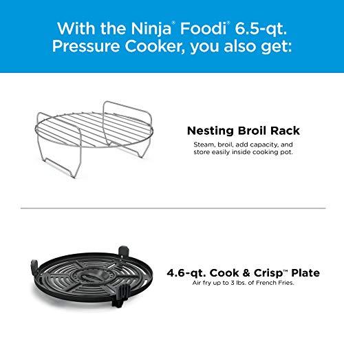 Ninja OS301 Foodi Olla a presión 10 en 1 y freidora de aire con rejilla para asar anidada, capacidad de 6.5 cuartos y acabado inoxidable 7