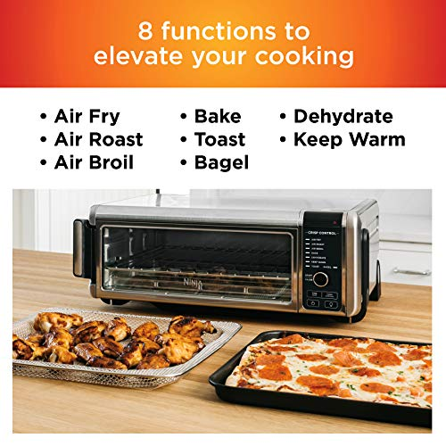 """Ninja Foodi 8-in-1 Digital, Toaster, Air Fryer, with Flip-Away for Storage Multi-Purpose Counter-top Convection Oven (SP101), 19.7"""" W x 7.5""""H x 15.1""""D, Stainless Steel/Black 3"""