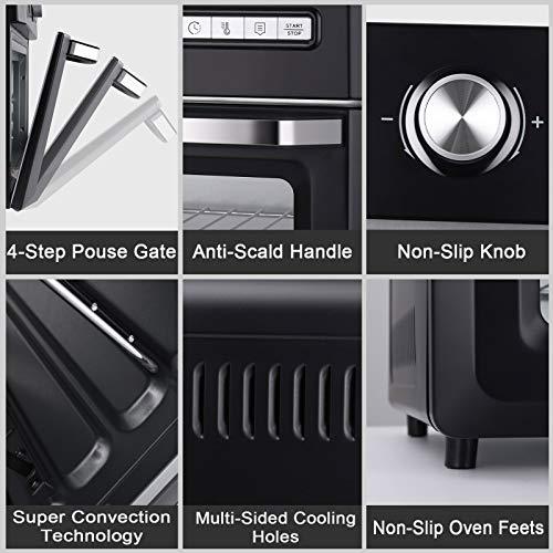 BOSCARE Freidora de aire horno y horno asador, freidor, asador, asado, asado, hornear, recalentar y deshidratar 2