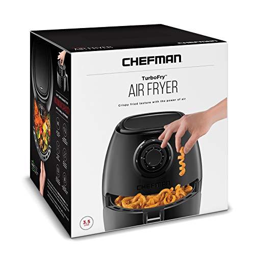 Chefman | Freidora de Aire 3.5L | AirFryer TurboFry Fríe sin Aceite | Doble Perilla de Temperatura y Tiempo | Negro Mate 7