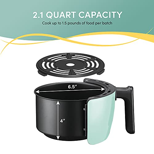 Maxi-Matic EAF-0201BL Freidora de aire caliente eléctrica compacta personal que ahorra espacio Cocina saludable sin aceite, temporizador y controles de temperatura, sin PFOA / PTFE, 1000 vatios, 2,1 cuartos, agua 3