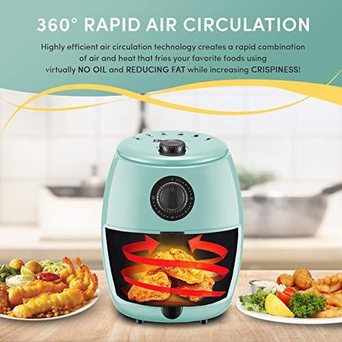 Maxi-Matic EAF-0201BL Freidora de aire caliente eléctrica compacta personal que ahorra espacio Cocina saludable sin aceite, temporizador y controles de temperatura, sin PFOA / PTFE, 1000 vatios, 2,1 cuartos, agua 2