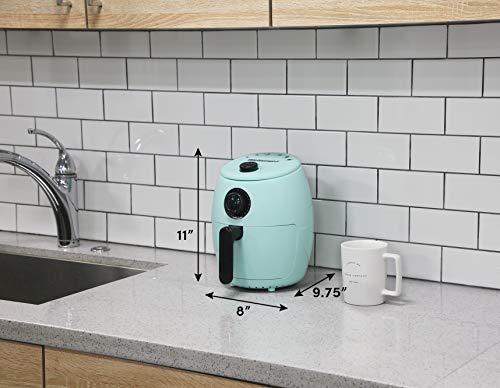 Maxi-Matic EAF-0201BL Freidora de aire caliente eléctrica compacta personal que ahorra espacio Cocina saludable sin aceite, temporizador y controles de temperatura, sin PFOA / PTFE, 1000 vatios, 2,1 cuartos, agua 5