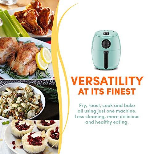 Maxi-Matic EAF-0201BL Freidora de aire caliente eléctrica compacta personal que ahorra espacio Cocina saludable sin aceite, temporizador y controles de temperatura, sin PFOA / PTFE, 1000 vatios, 2,1 cuartos, agua 6