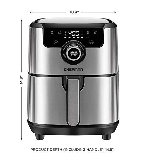 Chefman Freidora de Aire Digital de 4 Litros | Airfryer | Ajustes Preestablecidos | Acero inoxidable 6